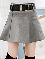 Women's Solid / Patchwork Red / Black / Yellow / Gray Skirts , Casual Above Knee