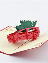 5pcs / set albero di Natale laser 3d taglio pop-up di carta fatta a mano biglietti di auguri personalizzati regali di Natale Babbo Natale