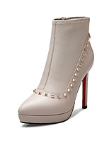 AIMICKEY®Women's Shoes Leather Stiletto Heel Fashion Boots Boots Office & Career / Party & Evening / Casual Red / Beige