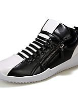 Zapatos de Hombre-Sneakers a la Moda-Casual-Semicuero-Negro / Blanco