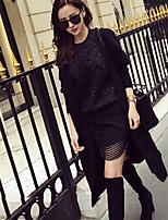 Women's Solid Black Cardigan , Casual Long Sleeve