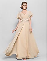 A-line Mother of the Bride Dress - Champagne Floor-length Short Sleeve Chiffon