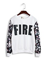 Women's Floral / Letter / Patchwork White / Black / Gray Hoodies , Casual / Cute / Work Round Neck Long Sleeve