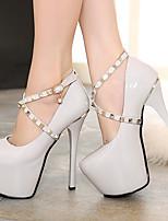 Women's Shoes Patent Leather Stiletto Heel Round Toe Heels Dress Black/Gray