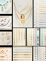 11pcs Chains Blue Color Temporary Gold Silver Flash Metallic Tattoos Sticker Bracelet Necklace Waterproof
