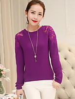 Women's Jacquard / Lace White / Purple Pullover , Casual Long Sleeve