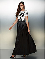 A-line Scoop Ayak bileği uzunluk Saten Resmi Gece Elbise Çoklu-renk