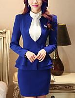 Women's Solid Blue / Red / White / Black / Orange / Yellow / Purple Blazer , Work / Plus Sizes Deep V Long Sleeve