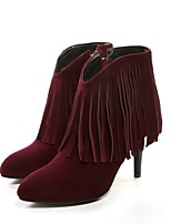 Women's Shoes Leather Stiletto Heel Fashion Boots / Round Toe Boots Dress / Casual Black / Red