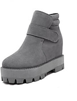 Women's Shoes Suede Platform Round Toe Boots Casual Black / Gray