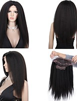 Premierwigs 10''-24'' Kinky Straight Soft Full Brazilian Virgin Lace Front Wigs Natural Hairline No Reason Return