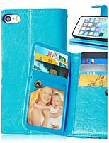 Для Кейс для iPhone 5 Бумажник для карт / Кошелек / со стендом / Флип Кейс для Чехол Кейс для Один цвет Твердый Искусственная кожа для