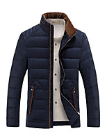 Men's Regular Thick Slim Down Coat , Stand Feather / Polyester Pure Long Sleeve