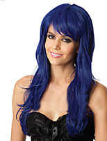 Europe And The United States Wig Lady Blue Wavy Curly Synthetic Wig