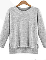Women's Solid Black / Gold / Silver Pullover , Casual Long Sleeve
