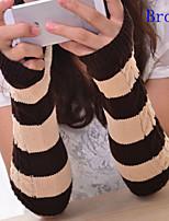 Women Leisure Stripe Twist Knitwear Fingerless Long Gloves , Casual