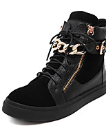 Scarpe Donna - Sneakers alla moda - Tempo libero - Comoda - Piatto - Finta pelle - Nero