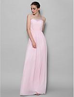 Floor-length Chiffon Bridesmaid Dress - Blushing Pink Sheath/Column Spaghetti Straps