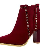 Women's Shoes Velvet Chunky Heel Fashion Boots Boots Outdoor / Casual Black / Brown / Burgundy / Khaki / Bone