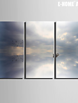 E-HOME® Stretched Canvas Art Boat on The Water Surface Decoration Painting Set of 3