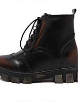 Women's Shoes Leatherette Low Heel Round Toe Boots Casual Black