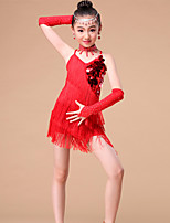 Kids' Dancewear Outfits Children's Performance Milk Fiber Rhinestones / Sequins / Tassel(s) 4 Pieces 3 Colors