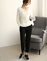 Women's Solid White Casual Long Sleeve Pullover