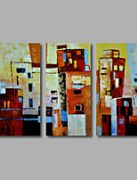 Hand-Painted Oil Painting on Canvas Wall Art Modern Abstract Building City Home Deco Three Panel Ready to Hang
