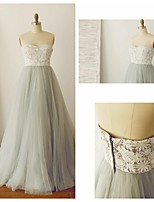 Formal Evening Dress - Silver A-line Strapless Sweep/Brush Train Lace / Tulle