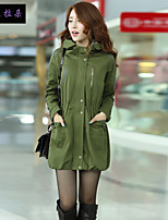 Women's Solid Green Trench Coat , Vintage / Casual / Party / Work Long Sleeve Polyester / PU