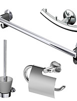 ENZORODI 4-Piece Bath Accessories Set Collection,Toilet Paper Holder,Brush Holder,Towel Bar,Robe Hook,Brass Chrome