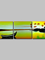 Hand-Painted Oil Painting on Canvas Wall Art Modern Seascape Sunshine Boats Home Deco Three Panel Ready to Hang