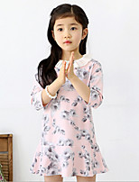 Girl's Blue / Pink Dress , Floral Cotton Winter / Fall