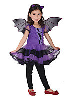 Girl's Purple Dress , Ruffle Mesh / Polyester All Seasons