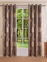 (One Panel)Polyester Dark Coffee Months of Birds Jacquard Room Darking Curtain