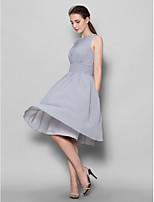 Brautjungfernkleid - Silber Georgette - A-Linie - knielang - U-Ausschnitt