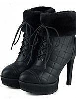 Women's Shoes Synthetic Stiletto Heel Combat Boots Boots Dress / Casual Black / Brown / Red