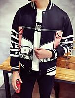 Men's Long Sleeve Jacket , Cotton Casual Print