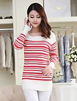 Women's Striped Red Pullover , Sexy / Casual Long Sleeve