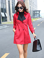 Women's Solid Red / Camel / Gray Trench Coat , Casual Long Sleeve Cotton