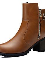 Chaussures Femme - Décontracté / Soirée & Evénement - Noir / Marron - Gros Talon - Bottes à la Mode / Bottes de Moto - Bottes -
