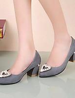 Women's Shoes Pearl Heart Shape Suede Chunky Heel Pointed Toe Heels Office & Career / Dress