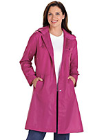 Women's Casual/Daily Street chic Trench Coat,Solid Hooded Long Sleeve Fall Black / Purple Polyester Opaque
