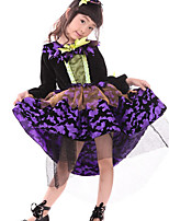 Girl's Purple Dress , Ruffle / Bow Cotton Blend / Mesh All Seasons