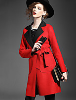 Women's Solid Black Coat , Casual / Work Long Sleeve Suede