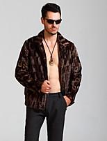 Men Faux Fur Top , Belt Not Included Winter Plus Size Fur Coat