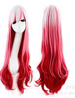 Zipper  White and Red Mixed Color 70cm Country Lolita Wig