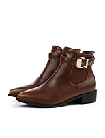Women's Shoes Leatherette Low Heel Fashion Boots Boots Outdoor / Casual Black / Brown