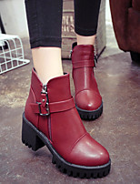 Women's Shoes Cone Heel Heels / Bootie / Combat Boots / Round Toe Boots Casual Blue / Red / Gray