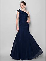 Floor-length Chiffon Bridesmaid Dress - Dark Navy Fit & Flare One Shoulder
